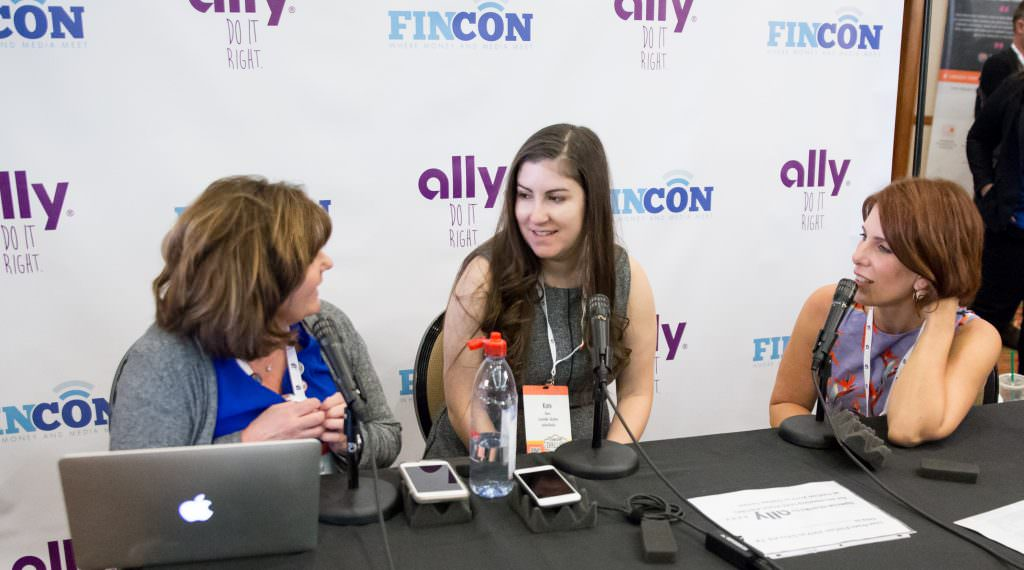 women podcasting with FinCon Ally backdrop