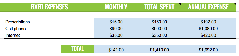 spreadsheet of fixed monthly expenses