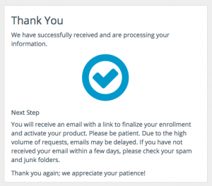 confirmation screen with check mark