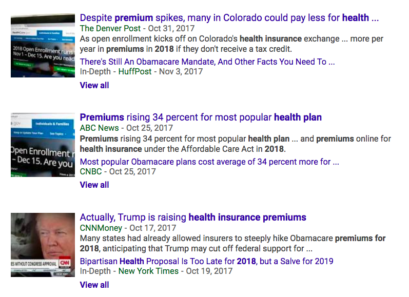 screenshot of Google search with headlines