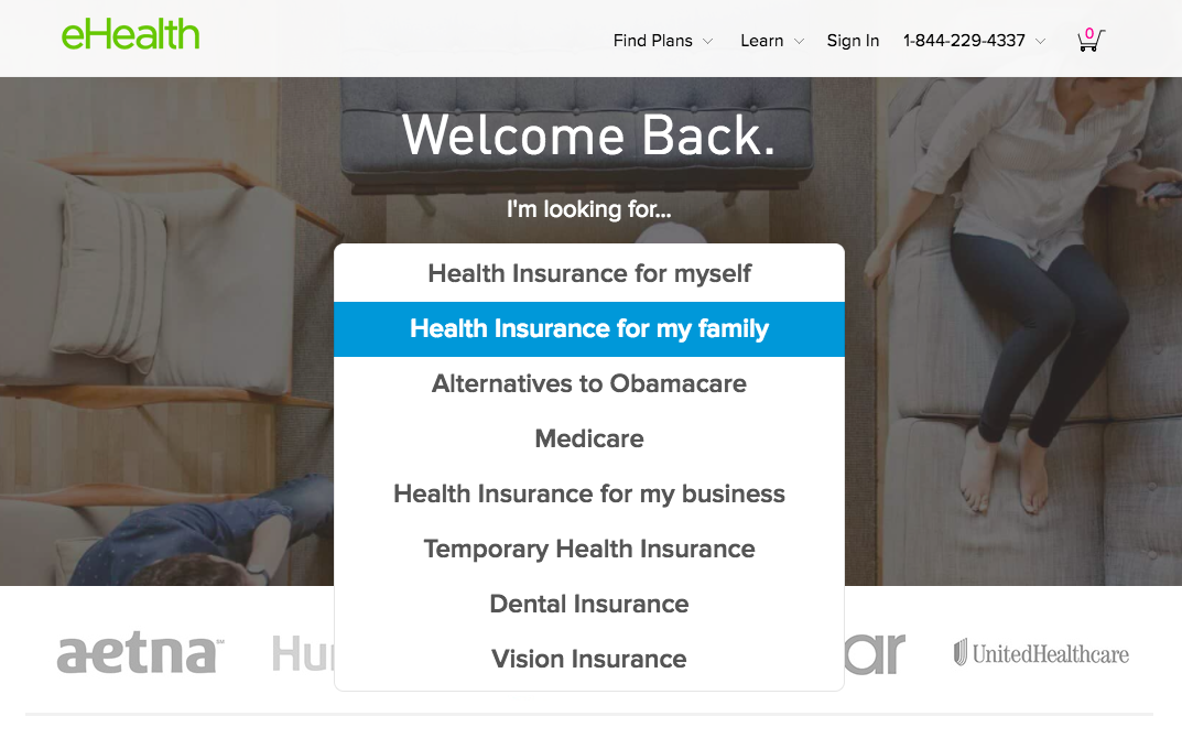 Screenshot of eHealthInsurance.com